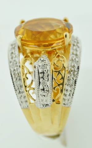 Two Tone Citrine and Diamond Ring