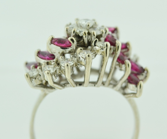 Ruby and Diamond Cluster Ring, in 14k White Gold