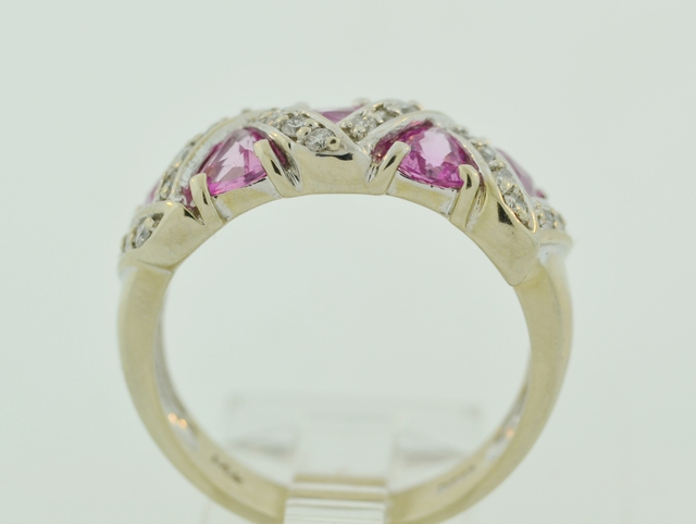 14k White Gold Gold Sapphire and Diamond Band
