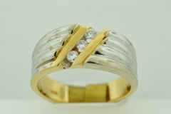 Ribbed Style Diamond Band, Set in 14k Two Tone Gold