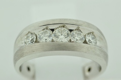 Wide Brushed Diamond Band, Set in 14k White Gold