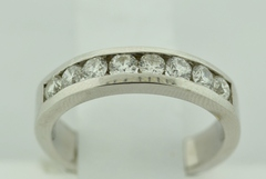 Round Diamond Channel Band, Set in 14k White Gold