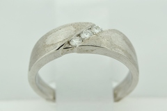Diamond Band with Brushed Finish, Set in 14k White Gold