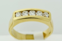 Round Diamond Channel Band, Set in 14k Yellow Gold