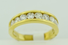 Round Diamond Channel Band, Set in 18k Yellow Gold