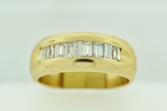 Baguette-cut Diamond Channel Band, Set in 14k Yellow Gold