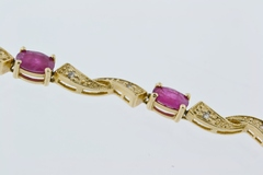 Crossover Ruby and Diamond Bracelet, in 14k Yellow Gold