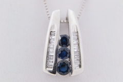 Blue Sapphire and Diamond Pendant, in 10k White Gold