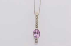 Pink Sapphire Drop Pendant, Set in 14k white gold on an 18