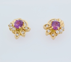 Sapphire and Diamond Earrings, in 14k Yellow Gold