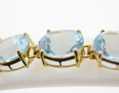 Prong-set Blue Topaz Bracelet, in 14k Yellow Gold