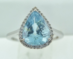 Aquamarine and Diamond Ring, in 14k White Gold