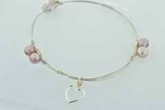 Sterling Wire Bangle, Bracelet w/6 Pink Pearls and s.s. Heart Charm