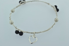 Sterling Wire Bangle, Bracelet w/6 Onyx Beads and 3 Patterned Beads and a Heart Charm