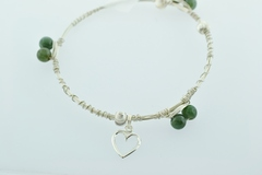 Sterling Wire Bangle, Bracelet w/6 Green Jade Beads, 3 S.S. Round Patterned Beads and a Heart Charm