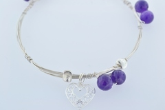 Sterling Wire Bangle, Bracelet w/6 Amethyst Beads, 3 Patterned Beads and Heart Charm