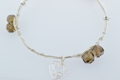 Sterling Wire Bangle, Bracelet w/6 Smoky Quartz , 3 S.S. Beads and a Heart Charm