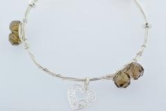 Sterling Wire Bangle, Bracelet w/6 Smoky Quartz , 3 S.S. Beads and a Heart Charm