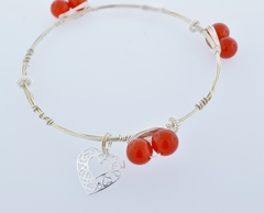 Sterling Wire Bangle, Bracelet w/6 Carnelian Beads, 3 S.S. Beads and a Heart Charm