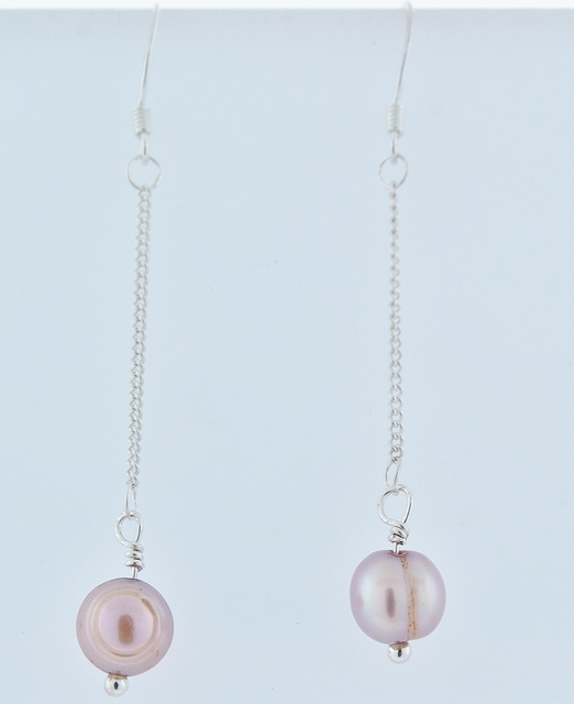 Sterling Silver Pink Pearl Earrings