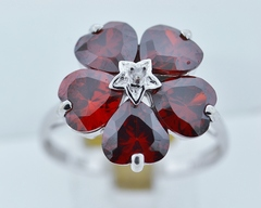Flower Style Garnet Ring, w/Round Diamond Set in 14k White Gold