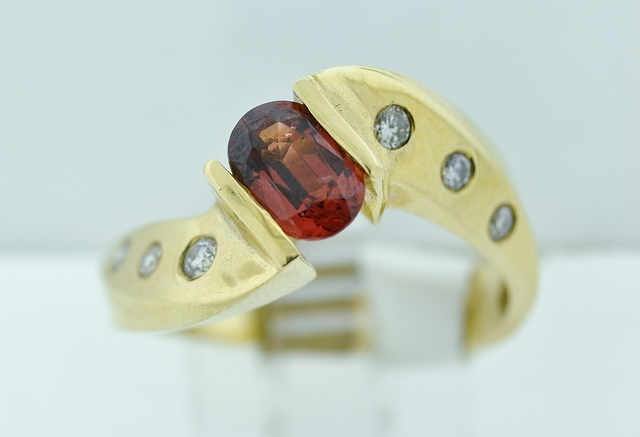 Garnet and Diamond Twist Style Ring, in 14k Yellow Gold