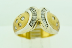 Fashion Diamond Ring, Set in 14k Two Tone Gold
