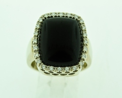 Black Onyx and Diamond Ring, Set in 14k White Gold