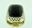 Black Onyx and Diamond Ring, Set in 14k White Gold