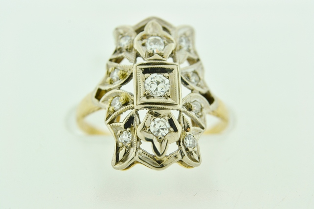 Round-cut Diamond Ring, Set in 14k Two Tone Gold