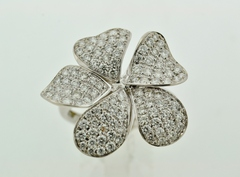 Modern Style Flower Ring, Set in 14k White Gold