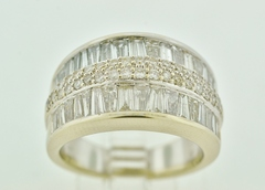 Baguette and Round Brilliant-cut Diamond Band, in 14k White Gold