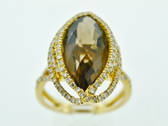 Smokey Quartz and Diamond Ring, Set in 14k Yellow Gold
