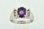 Amethyst and Diamond Ring, Set in 14k White Gold