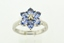 Flower Style Tanzanite Ring, w/Round Diamond Set in 14k White Gold