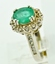 Emerald and Diamond Ring, Set in 14k White Gold