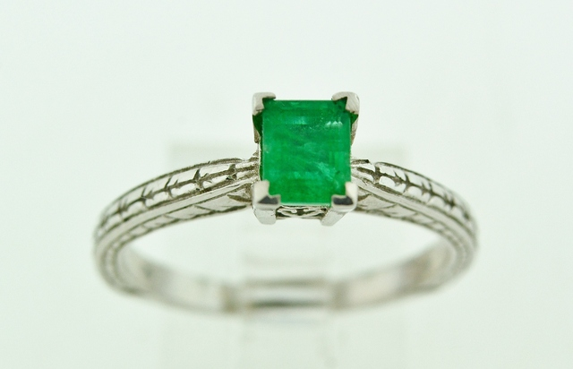 Emerald Solitaire Ring, in 14k White Gold