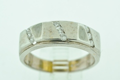 Multi Channel Diamond Band, Set in 14k White Gold