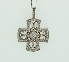Diamond Cross Pendant, Set in 14k White Gold