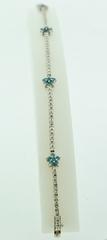 Blue Diamond Flower Style Bracelet, Set in 18k White Gold