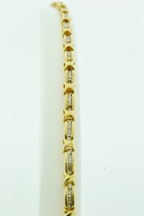Baguette Diamond Tennis Bracelet, Set in 10k Yellow Gold