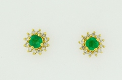 Columbian Emerald and Diamond Studs, in 14k Yellow Gold