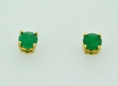 Round Emerald Studs