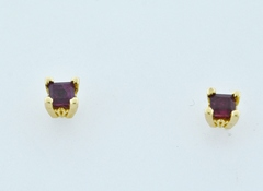 .38ct tw Square Ruby Studs