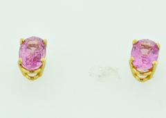Oval Pink Sapphire Studs