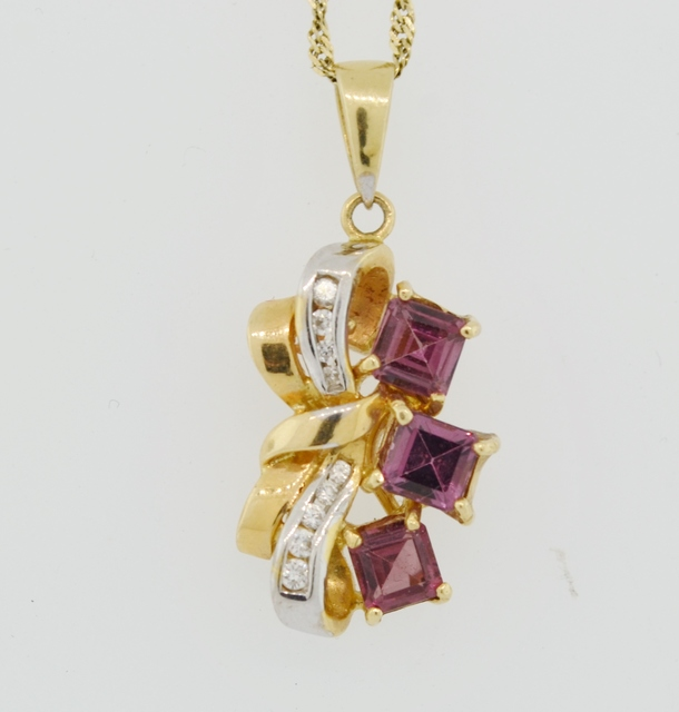 Garnet and Diamond Pendant, Set in 14k Yellow Gold