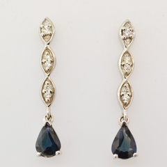 Sapphire and Diamond Earrings, in 14k White Gold