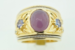 Beautiful Chalcedony Ring with Tanzanite and Blue Diamonds Set in 14k Yellow Gold