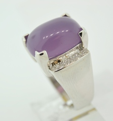 Chalcedony and Diamond Ring in 14k White Gold