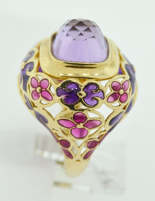 Beautiful Amethyst Ring with Purple and Red Enamel in 14k Yellow Gold
